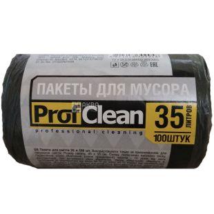 Professional Cleaning, 100 шт., 35 л, Пакеты для мусора Профешнл Клининг, без затяжек, суперпрочные, черные