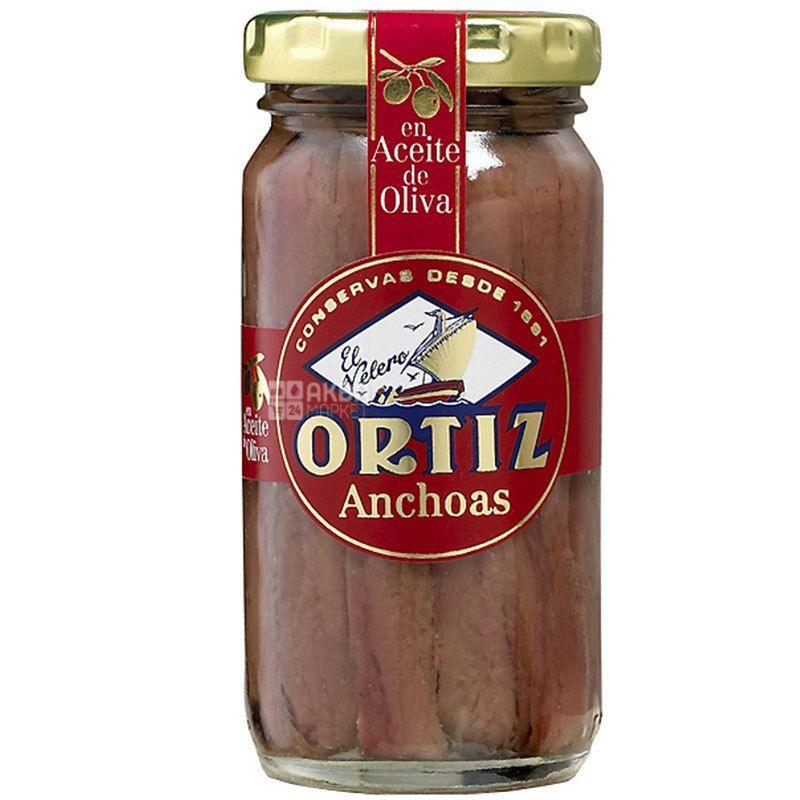 Conservas Ortiz, 95 г, Анчоус в оливковом масле, консервированный