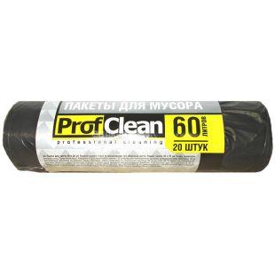 Professional Cleaning, 20 шт., 60 л, Пакеты для мусора Профешнл Клининг, без затяжек, черные