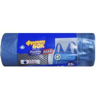 Freken Bock, Garbage bags, with handles, metallic blue, 35 l, 20 pcs.
