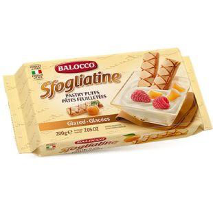 Balocco, Sfogliatine, 200 г, Печенье слоеное, с глазурью и абрикосом