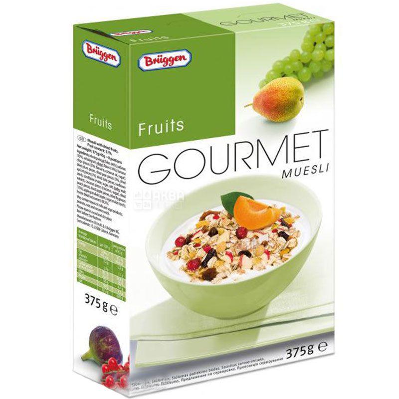Bruggen, 375 г, Мюсли Брюгген, смесь злаков, с фруктами, семечками, ягодами, сухой завтрак, быстрого приготовления