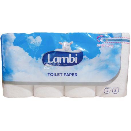 Lambi, 8 рул., Туалетная бумага Ламби, 3-х слойная