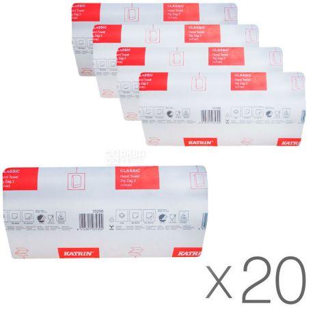 KATRIN Classic, 20 Упаковок по 200 листов, Бумажные полотенца Катрин, 2-х слойные, ZZ-сложения