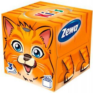 Zewa Kids Zoo Cube, 60 шт., Салфетки Зева Кидс Зоо Куб, 3-х слойные, ассорти