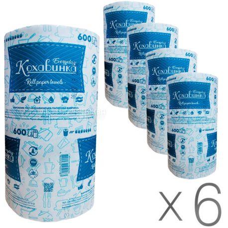 Кохавинка, 6 упаковок по 600 листов, Бумажные полотенца, однослойные, зеленые, 80 м