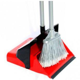 Атма Duster Set 8257, Набор Дастер для прибирання, совок і щітка, пластик, гума, червоний, 66 см