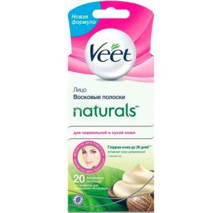Veet, 10 pcs., Wax strips for depilation, with shea butter, for normal to dry skin