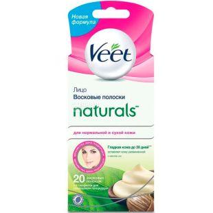 Veet, 10 шт., Восковые полоски для депиляции, с маслом ши, для нормальной и сухой кожи лица