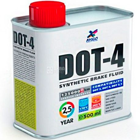 XADO DOT 4, 0,5 л, Тормозная жидкость