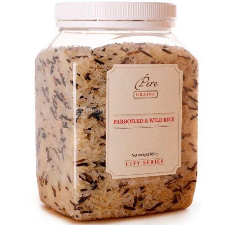 Pere, Parboiled & Wild Rice, 0,8 кг, Рис Пере, Парбоілд енд Вайлд, суміш пропареного і дикого, ПЕТ