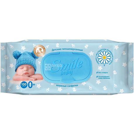 Smile Baby, 100 шт., Серветки вологі Смайл, Дитячі, Ромашка і алое, для догляду за шкірою
