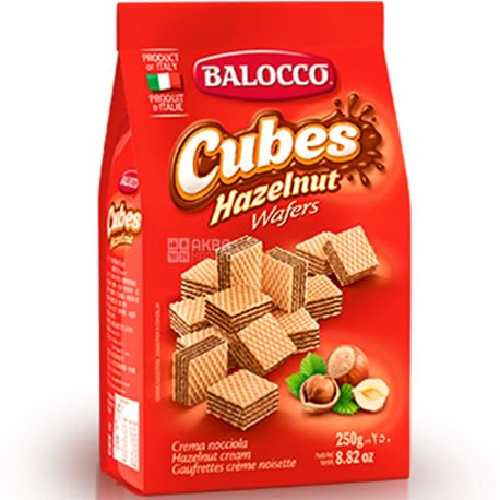Balocco Cubes, 250 г, Вафли с фундуком