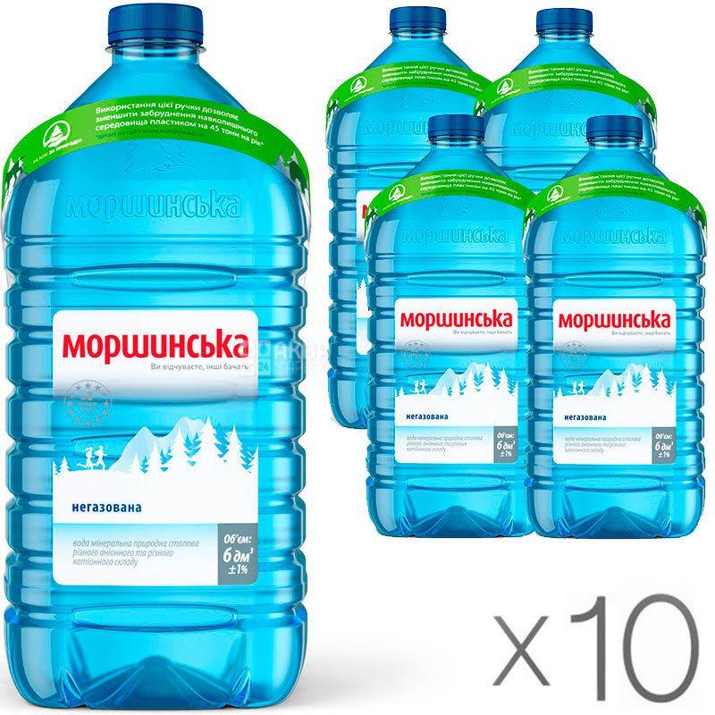Моршинская, Упаковка 10 шт. по 6 л, Вода негазированная, ПЭТ