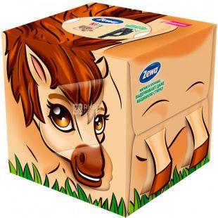 Zewa Kids Zoo Cube, 60 шт., Серветки Зева Кідс Зоо Куб, 3-х шарові, асорті
