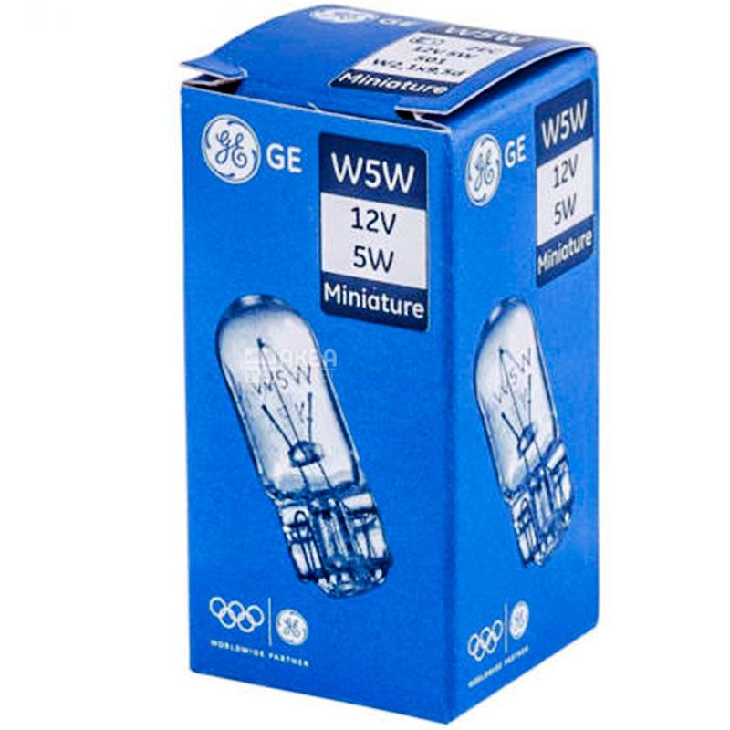 General Electric W5W, 1 шт., Автолампа накаливания, 12V, 5 W