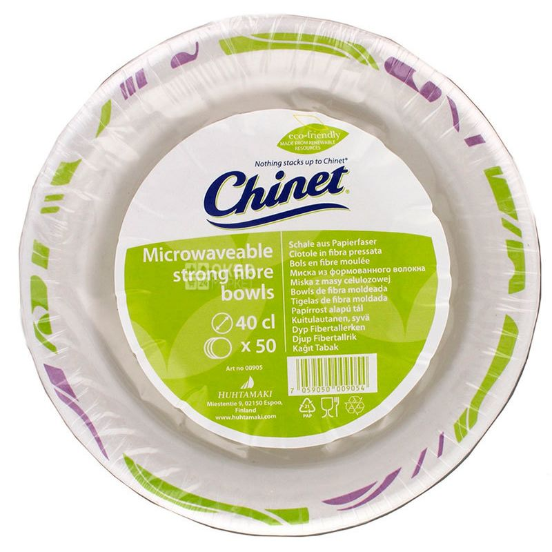 Chinet, 50 pcs., 400 ml, paper plate, soup, With a pattern