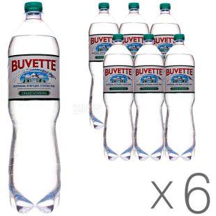 Buvette Vital, 1,5 л, Упаковка 6 шт., Бювет, Вода минеральная слабогазированная, ПЭТ