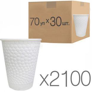 Стакан бумажный, 110 мл, с конгревным тиснением Пузыри, белый, 30 шт., 70 упаковок