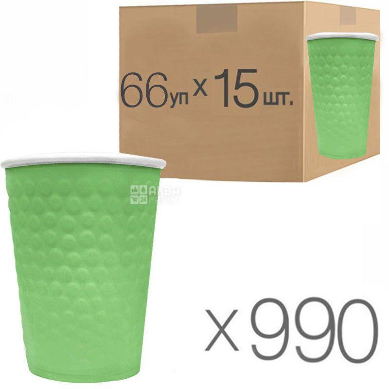 Стакан бумажный, 250 мл, с конгревным тиснением Пузыри, зеленый, 15 шт., 66 упаковок, D75