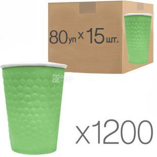 Стакан бумажный, 180 мл, с конгревным тиснением Пузыри, зеленый, 15 шт., 80 упаковок