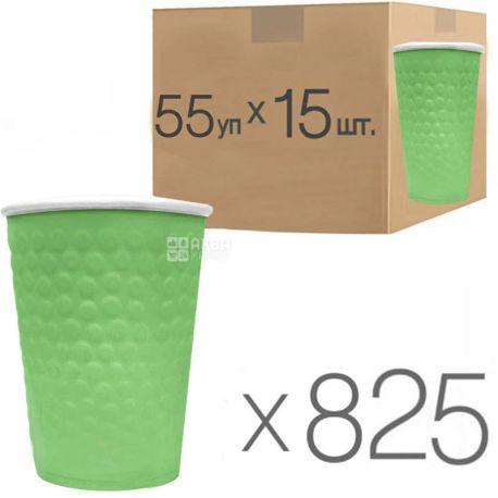 Стакан бумажный, 340 мл, с конгревным тиснением Пузыри, зеленый, 15 шт., 55 упаковок, D80