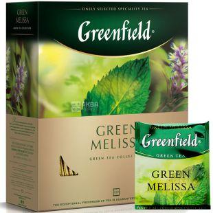Greenfield, Green Melissa, 100 пак., Чай Грінфілд, Грін Меліса, зелений