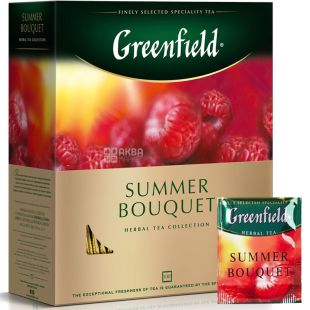 Greenfield, Summer Bouquet, 100 пак., Чай Гринфилд, Саммер Букет, травяной с малиной