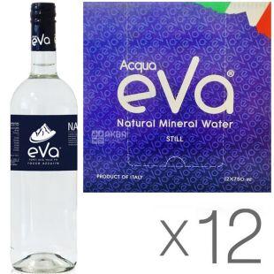 Acqua Eva Classic, 0,75 л, Упаковка 12 шт., Аква Эва, Вода горная, негазированная, стекло