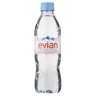 Evian, 0.5 L, Non-carbonated Water, Mineral, PET, PAT