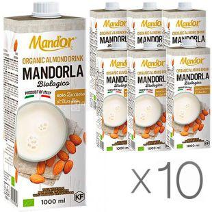 Mand`or Almond Organic, 1 л, Упаковка 10 шт., Мандор, Миндальное молоко Органик без сахара