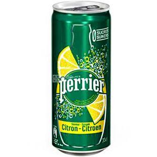 Perrier, 0,33 л, Напиток газированный, на основе минеральной воды Перье, со вкусом Лимона, ж/б