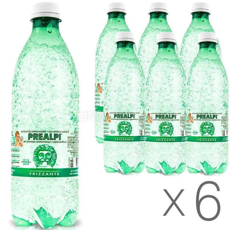Fonti Prealpi, 0,5 л, Упаковка 6 шт., Преалпи, Вода минеральная газированная, ПЭТ