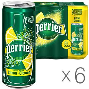 Perrier Lemon, 0.33 L, Pack of 6 pcs., Mineral carbonated water Perrier, with Lemon flavor, can
