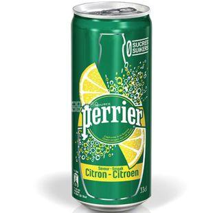 Perrier Lemon, 0,33 л, Вода газована мінеральна Пер'є, зі смаком Лимона, ж/б