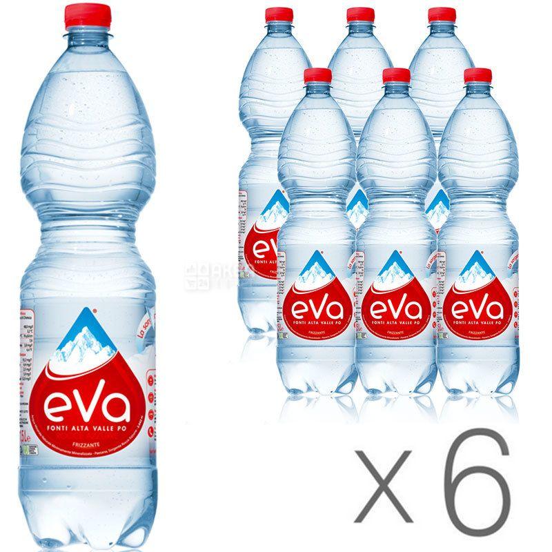 Acqua Eva, 1,5 л, Упаковка 6 шт., Аква Эва, Вода горная, газированная, ПЭТ