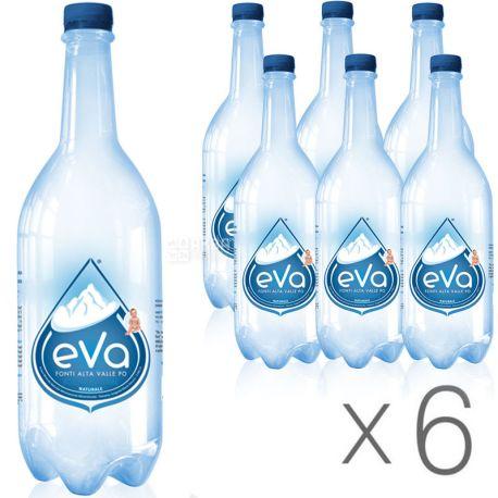 Acqua Eva, 1 л, Упаковка 6 шт., Аква Эва, Вода горная, негазированная, ПЭТ