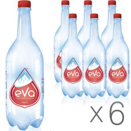 Acqua Eva, 1 л, Упаковка 6 шт., Аква Эва, Вода горная, газированная, ПЭТ