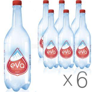 Acqua Eva, 1 л, Упаковка 6 шт., Аква Ева, Вода гірська, газована, ПЕТ
