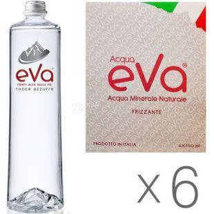 Acqua Eva Premium, 0,75 л, Упаковка 6 шт., Аква Ева, Вода гірська, газована, скло