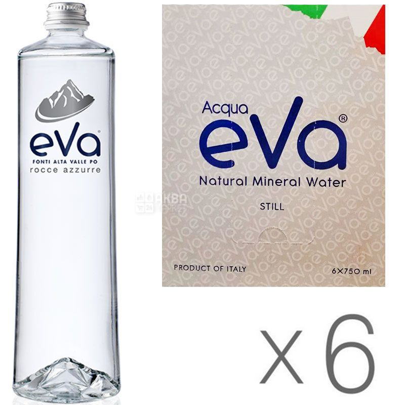 Acqua Eva Premium, 0.75 L, Pack of 6 pcs, Aqua Eva Premium, Mountain water, still, glass