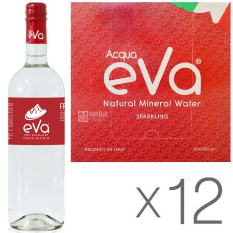 Acqua Eva Classic 0.75 л, Упаковка 12 шт., Аква Эва Классик, горная газ вода, стекло