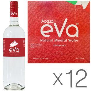 Acqua Eva Classic, 0,75 л, Упаковка 12 шт., Аква Эва Классик, Вода горная газированная, стекло