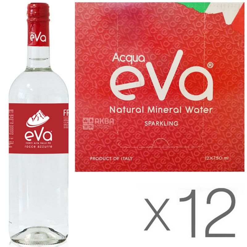 Acqua Eva Classic, 0,75 л, Упаковка 12 шт., Аква Ева Класік, Вода гірська газована, скло