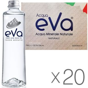 Acqua Eva Premium, 0.33 L, Pack of 20 pcs, Aqua Eva, Mountain water, still, glass