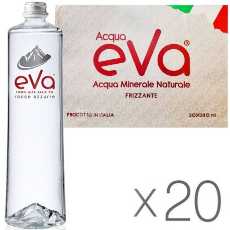Acqua Eva Premium, 0,33 л, Упаковка 20 шт., Аква Ева Преміум, Вода гірська, газированная, стекло