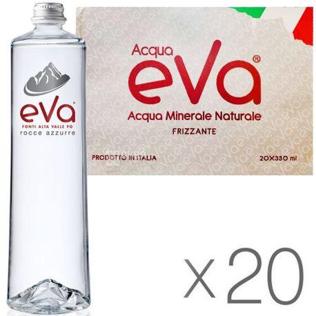 Acqua Eva Premium, 0,33 л, Упаковка 20 шт., Аква Эва Премиум, Вода горная, газированная, стекло