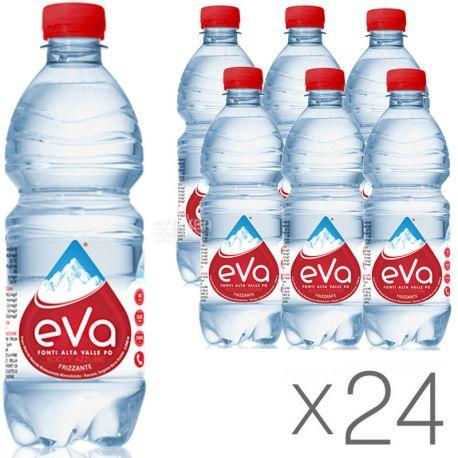 Acqua Eva, 0,5 л, Упаковка 24 шт., Аква Ева, Вода гірська, газована, ПЕТ