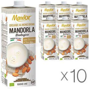 Mand`or Almond Organic, 1 л, Упаковка 10 шт., Мандор, Мигдальне молоко Органік без цукру