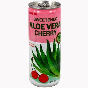 Lotte Aloe Vera Cherry, 0,24 л, Напій соковий Лотте Алое-Вишня, негазований, ж/б